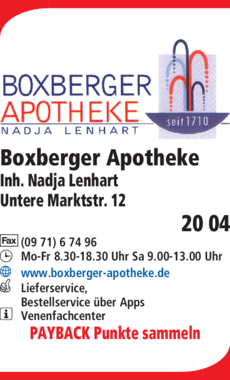Anzeige Boxberger Apotheke Inh. Nadja Lenhart