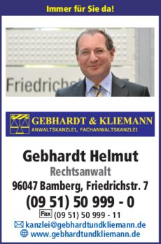 Anzeige Gebhardt Helmut Rechtsanwalt