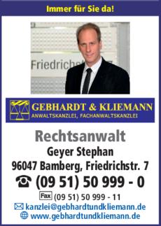 Anzeige Geyer Stephan Rechtsanwalt