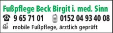 Anzeige Fußpflege Beck Birgit