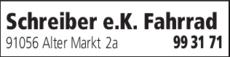 Anzeige Schreiber e.K. Fahrrad