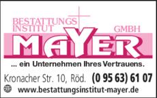 Anzeige Bestattungsinstitut Mayer