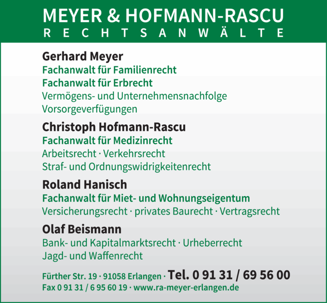 Anzeige Meyer & Hofmann-Rascu GbR, Rechtsanwaltskanzlei