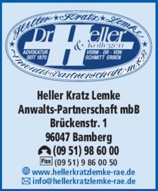 Anzeige Advokatur Heller Kratz Lemke Anwalts-Partnerschaft mbB