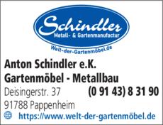 Anzeige Schindler Metallbau