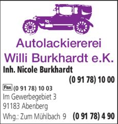 Anzeige Burkhardt Willi
