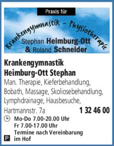 Anzeige Krankengymnastik Heimburg-Ott Stephan