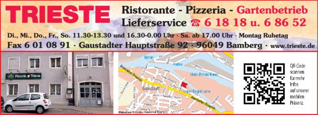 Anzeige Familienfeiern Pizzeria Trieste
