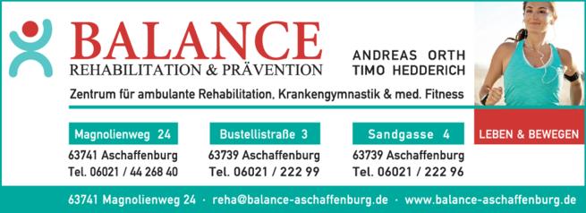 Anzeige medizinische Fitness BALANCE