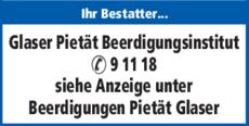 Anzeige Glaser Pietät Beerdigungsinstitut