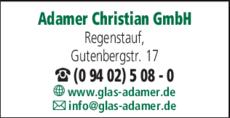 Anzeige Glasgroßhandel Adamer Christian GmbH