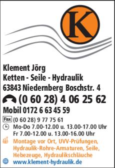 Anzeige Klement Jörg Ketten - Seile - Hydraulik