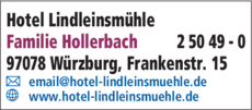 Anzeige Hotel Lindleinsmühle