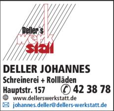 Anzeige Deller Johannes, Bauschreinerei