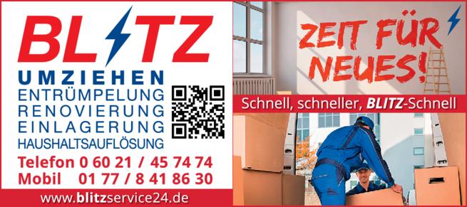 Anzeige Haushaltsauflösungen Blitz GmbH