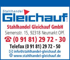 Anzeige Gleichauf Stahlhandel GmbH