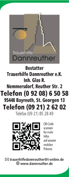 Anzeige Glas Reinhold Trauerhilfe Dannreuther e.K.