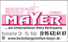 Anzeige Bestattungsinstitut Mayer GmbH