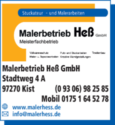 Anzeige Malerbetrieb Heß GmbH