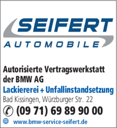 Anzeige Auto BMW Service Seifert