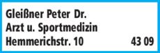 Anzeige Gleißner Peter Dr.med.