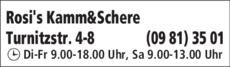 Anzeige Friseur Rosi's Kamm & Schere