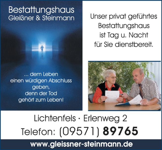 Anzeige Bestattungshaus Gleißner & Steinmann