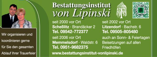 Anzeige Bestattungsinstitut von Lipinski