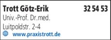 Anzeige Trott Götz-Erik Univ.-Prof.Dr.med.