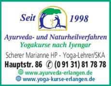 Anzeige Heilpraktiker Ayurveda- und Naturheilpraxis Scherer Marianne