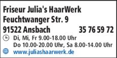 Anzeige Friseur Julias haarWerk