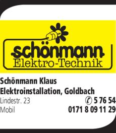 Anzeige Schönmann Klaus