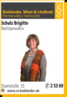 Anzeige Schulz Brigitte, Bohlender, Wüst & Lindholz