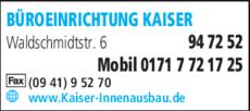 Anzeige Büroeinrichtung Kaiser