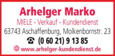 Anzeige ARHELGER MARKO Miele Verkauf und Kundendienst