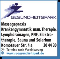 Anzeige Massagepraxis Gesundheitspark