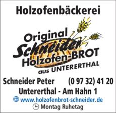 Anzeige Holzofenbäckerei Schneider Peter