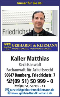 Anzeige Kaller Matthias Rechtsanwalt