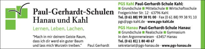 Anzeige Paul Gerhardt Schule