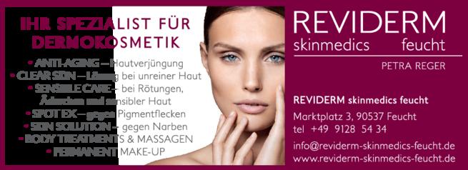 Anzeige REVIDERM skinmedics Feucht, Kosmetik Petra Reger