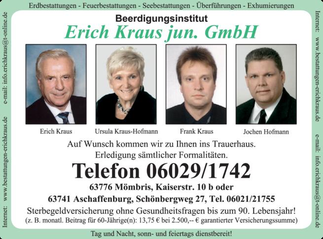 Anzeige Beerdigungsinstitut Erich Kraus jun. GmbH