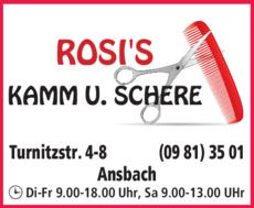 Anzeige Friseur Rosis Kamm & Schere