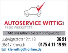 Anzeige Autoservice Wittig GmbH