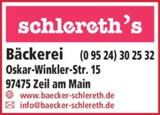 Anzeige Schlereth Bäcker