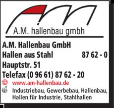 Anzeige A.M. Hallenbau GmbH