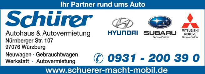 Anzeige Autohaus Schürer GmbH