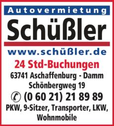 Anzeige Autovermietung Schüßler GmbH