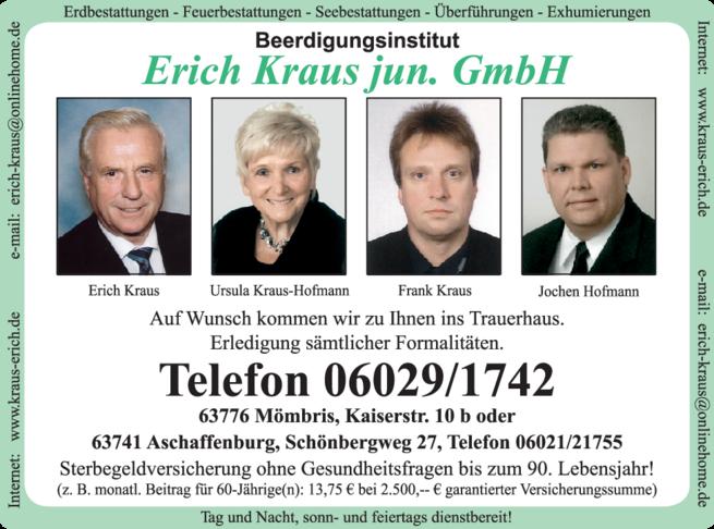 Anzeige Kraus Erich jun. Beerdigung