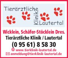 Anzeige Tierklinik Lautertal, Wicklein, Schäfer-Stöcklein Dres.