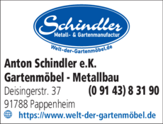Anzeige Schindler Gartenmöbel